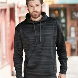 8661 Adult Odyssey Striped Performance Fleece Hooded Sweatshirt Thumbnail